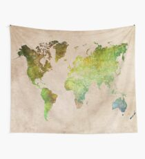 Green World Map ecology Wall Tapestry