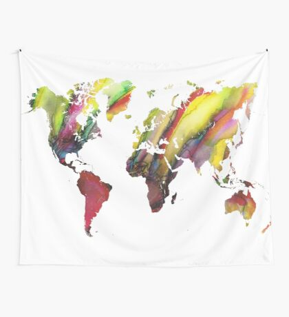 Colored world map Wall Tapestry