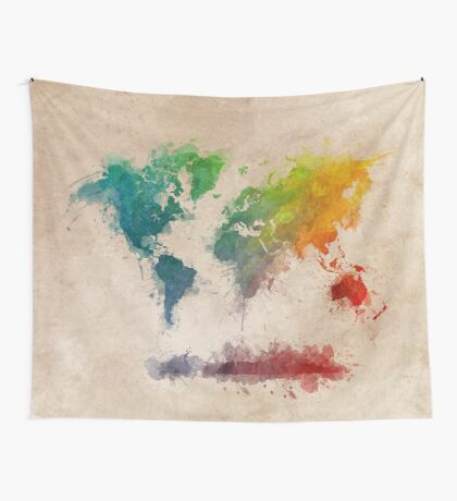 World Map splash colored Wall Tapestry