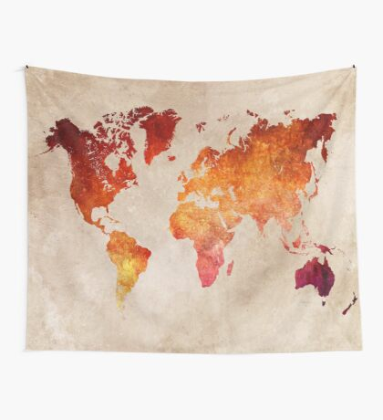 Map of the world Red World Wall Tapestry