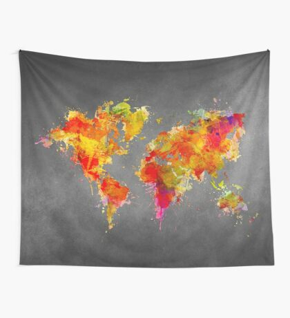 World Map splash red Wall Tapestry