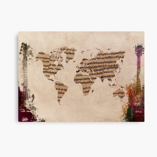 Music world map #map #worldmap Canvas Print