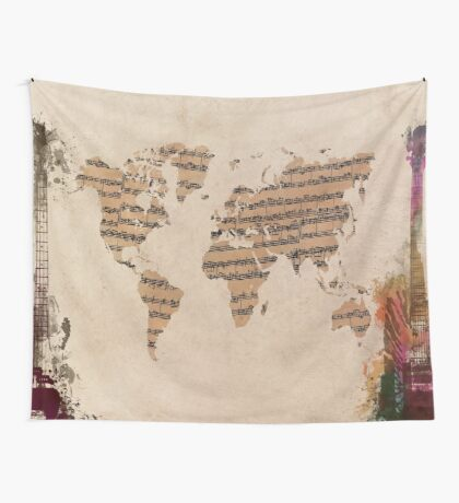 Music world map Wall Tapestry