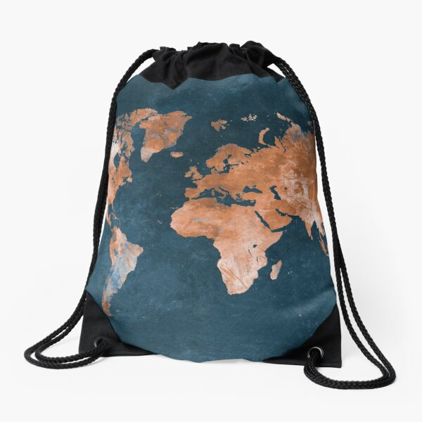 world map 15 #map #worldmap Drawstring Bag