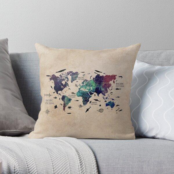 World Map Oceans #map #worldmap Throw Pillow