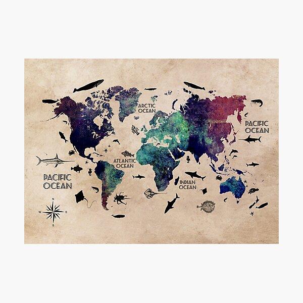 World Map Oceans #map #worldmap Photographic Print