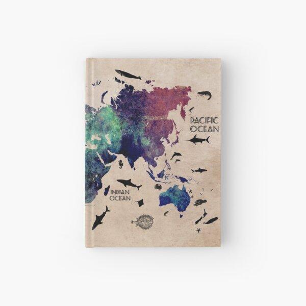 World Map Oceans #map #worldmap Hardcover Journal