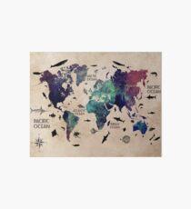 World Map Oceans Art Board