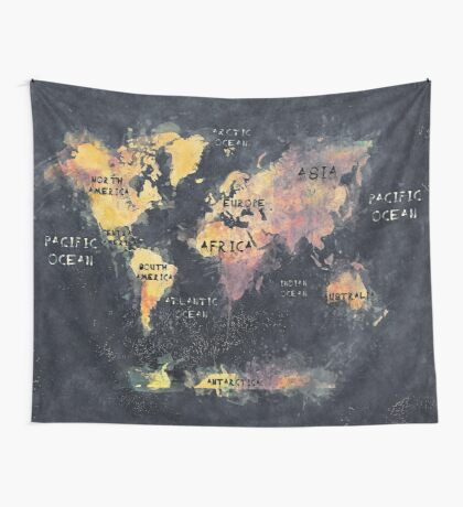 world map 12 Wall Tapestry