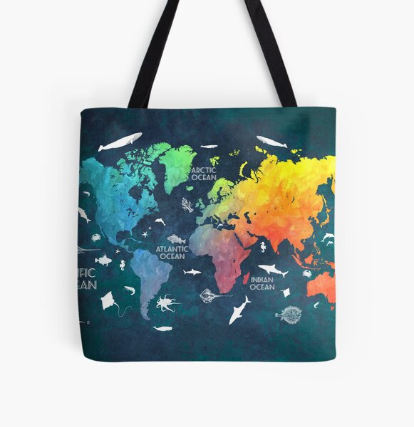 Oceans Life World Map colored All Over Print Tote Bag