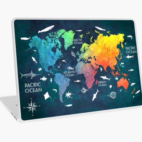Oceans Life World Map colored Laptop Skin