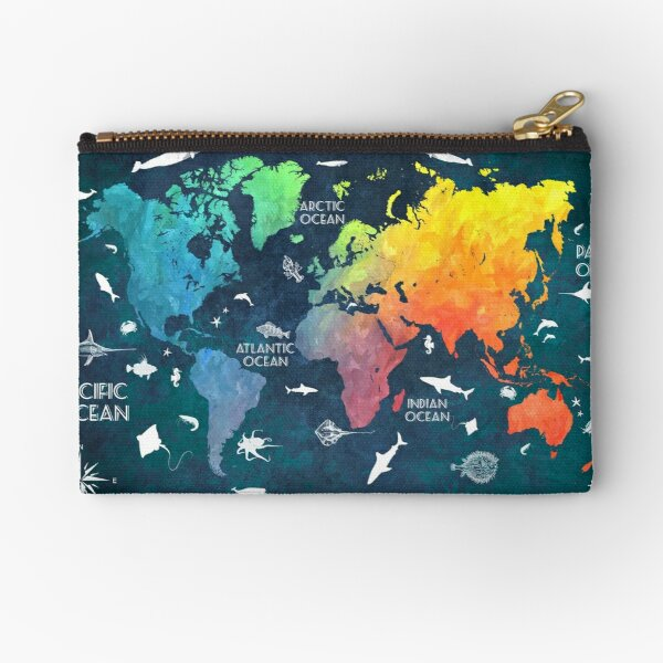 Oceans Life World Map colored Zipper Pouch