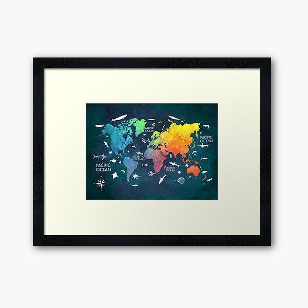 Oceans Life World Map colored Framed Art Print