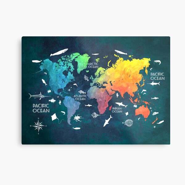 Oceans Life World Map colored Metal Print