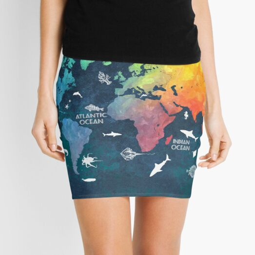 Oceans Life World Map colored Mini Skirt