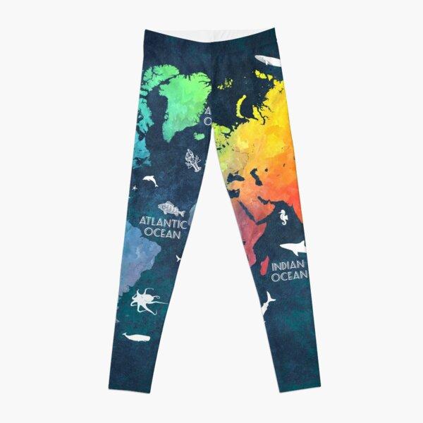 Oceans Life World Map colored Leggings