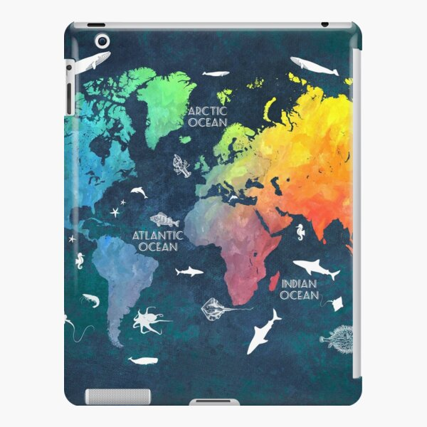 Oceans Life World Map colored iPad Snap Case