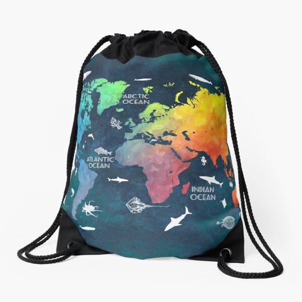 Oceans Life World Map colored Drawstring Bag