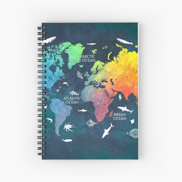 Oceans Life World Map colored Spiral Notebook