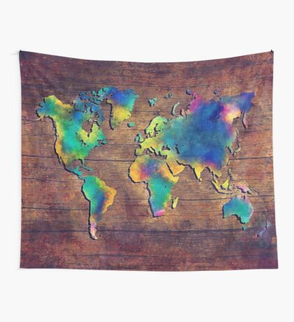 World map watercolor 2 Wall Tapestry
