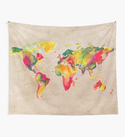 World Map 2026 b Wall Tapestry