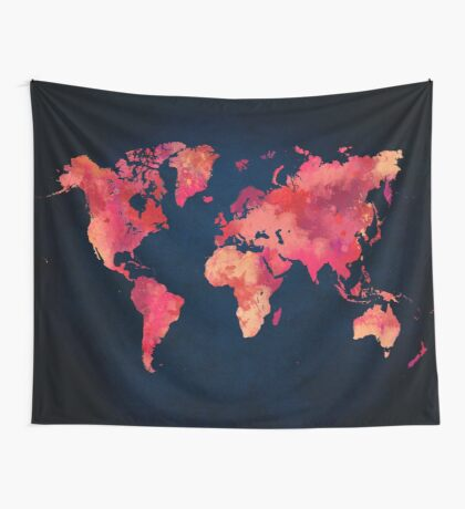 World map red Wall Tapestry