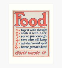 United States Department of Agriculture Poster 0266 Food Don't Waste it Art Print