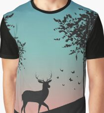 Deer in wild nature landscape Graphic T-Shirt