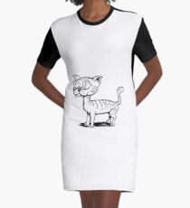 Ugly Cat Graphic T-Shirt Dress