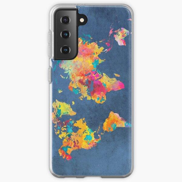 blue world map #map #worldmap Samsung Galaxy Soft Case
