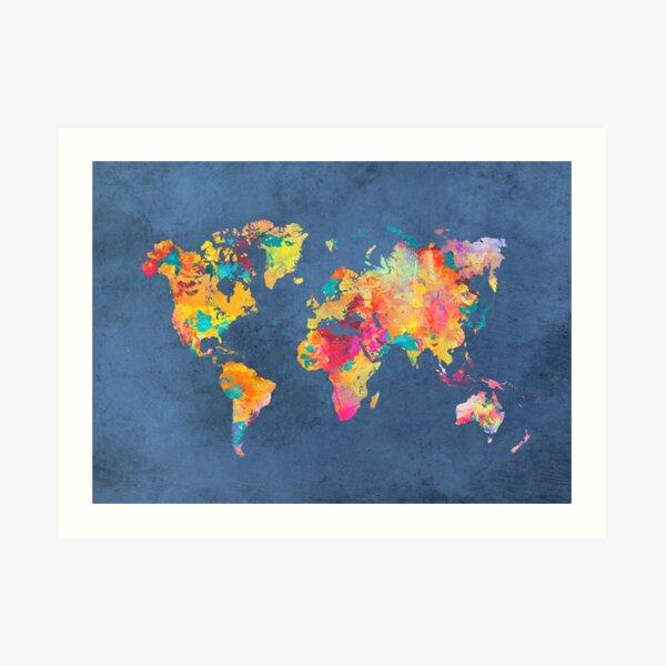 blue world map #map #worldmap Art Print