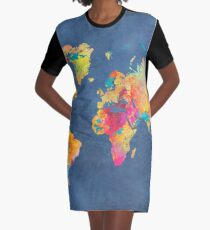 blue world map #map #worldmap Graphic T-Shirt Dress