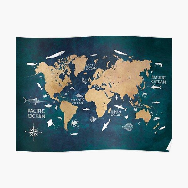 Oceans Life World Map blue #map #worldmap Poster