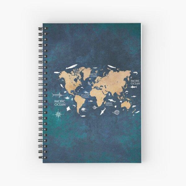Oceans Life World Map blue #map #worldmap Spiral Notebook