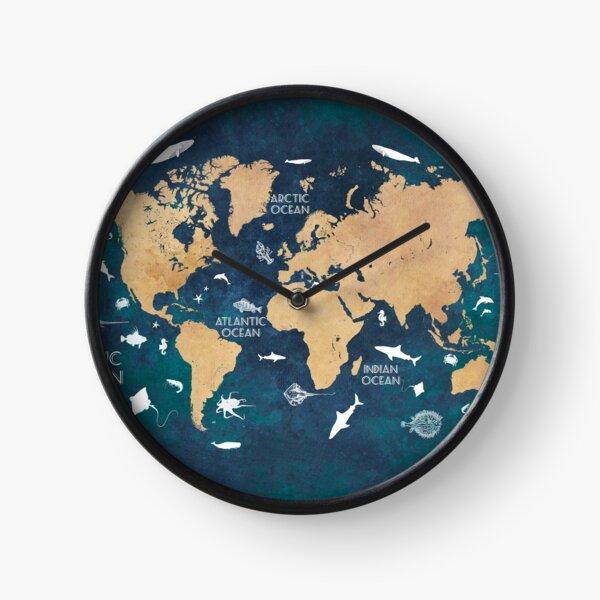 Oceans Life World Map blue #map #worldmap Clock