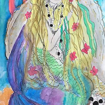Mermaid waking up with pearls  by Dottiepvisker