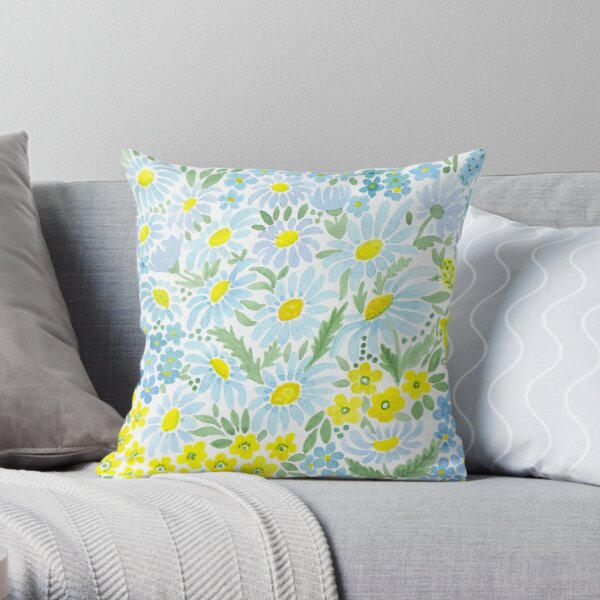 Watercolor . Chamomile field. 1 Throw Pillow