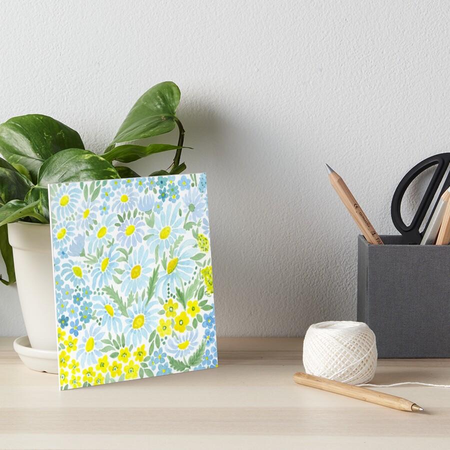 Watercolor . Chamomile field. 1 Art Board Print