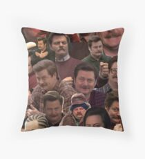 RON SWANSON'S FACES Throw Pillow