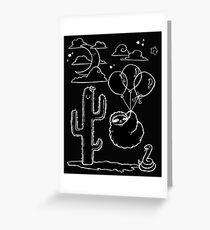 White Line Balloon Sloth Desert Night Greeting Card