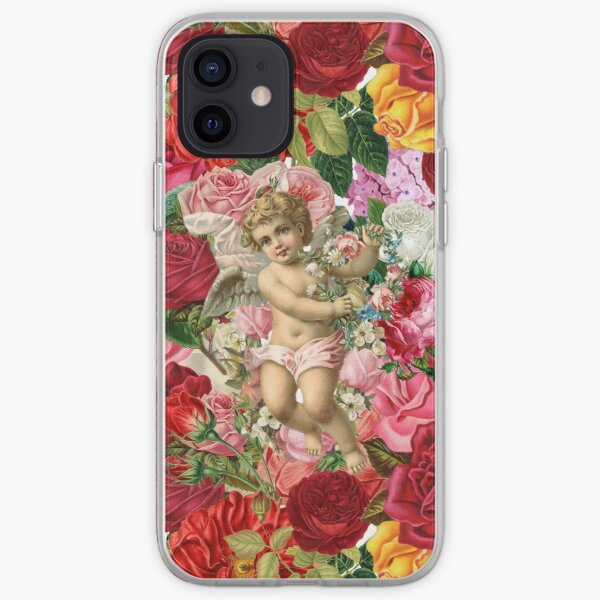 Victorian Cherub and Roses Chintzy Scrapbook Collage by Moose Disco iPhone Soft Case