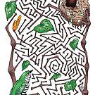 Shining cuckoo vs. the kawakawa maze by Josie Galbraith