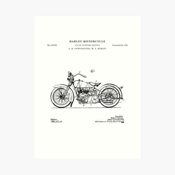 Motorcycle Patent Drawing Blueprint Art Print