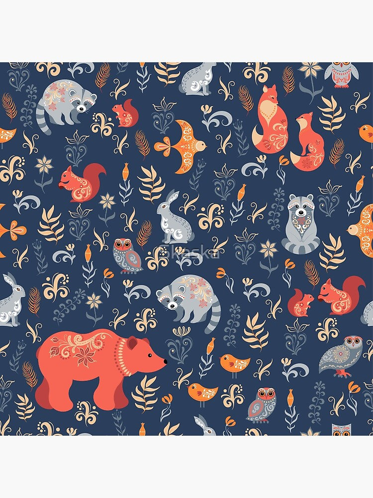 Fairy-tale forest. Fox, bear, raccoon, owls, rabbits, flowers and herbs on a blue background. by Skaska