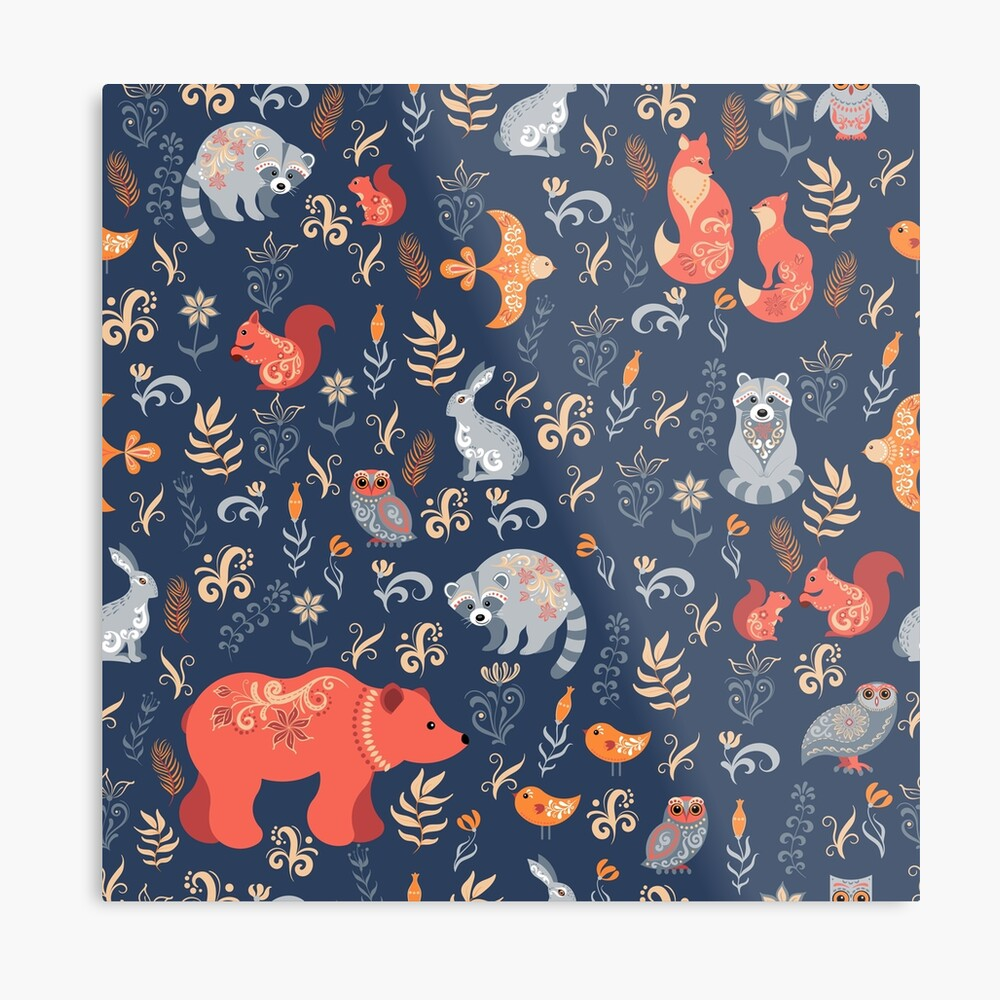 Fairy-tale forest. Fox, bear, raccoon, owls, rabbits, flowers and herbs on a blue background. Metal Print