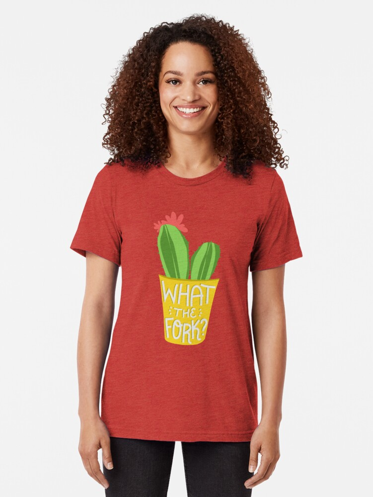 Alternate view of what the fork? cactus (The Good Place) Tri-blend T-Shirt