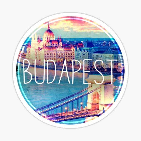 Budapest, Hungary, Chain Bridge and Parliament, Budapest sticker, circle Sticker