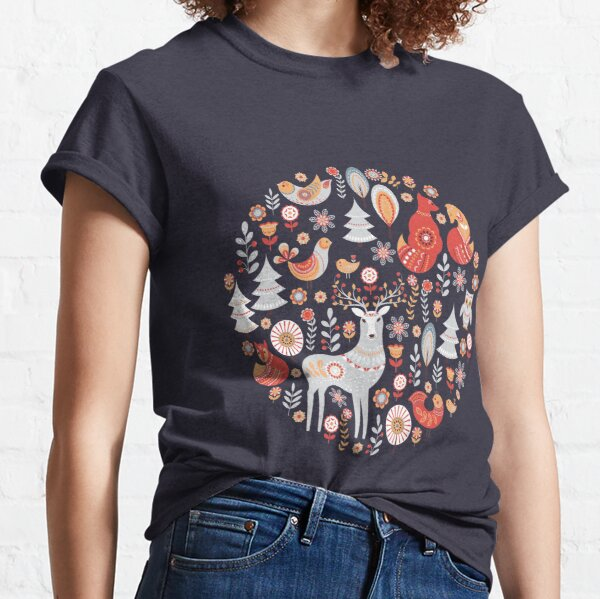 Fairy-tale forest. Foxes, deer, birds, owls,  flowers and herbs on a blue background.  Classic T-Shirt