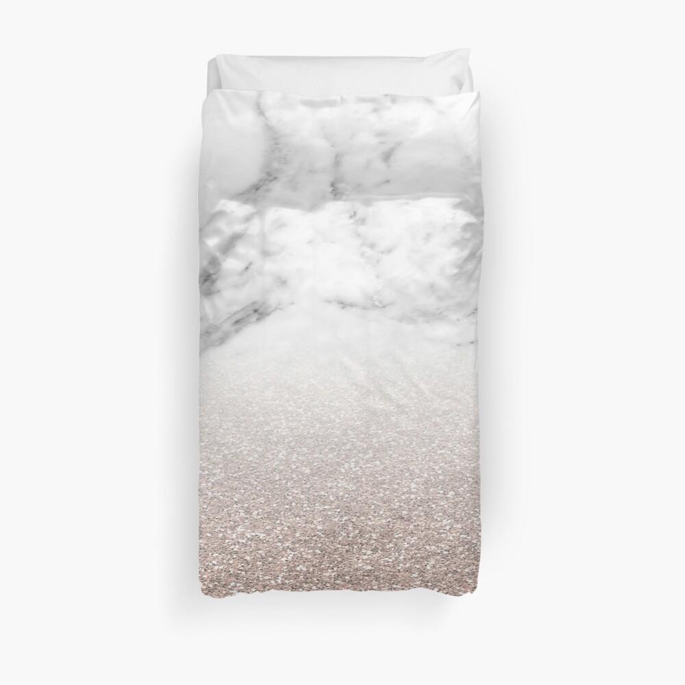 Rose gold glitter on marble Duvet Cover