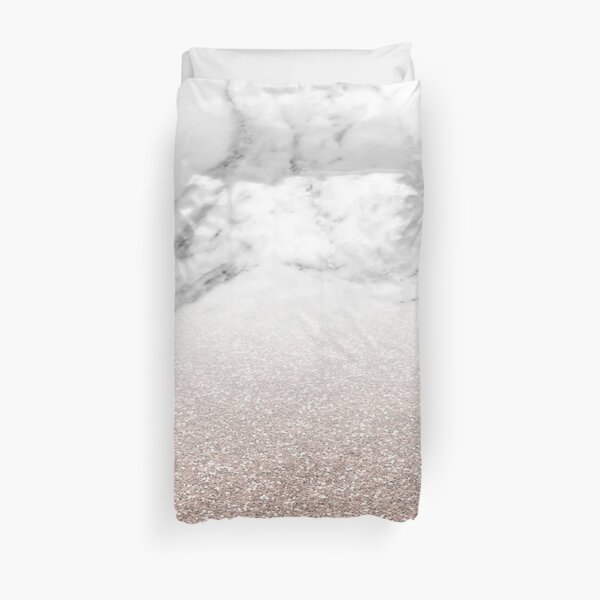 Rose gold glitter on marble Duvet Cover